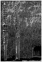 Statues of Polynesian gods,  Puuhonua o Honauau (Place of Refuge). Big Island, Hawaii, USA (black and white)