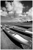 Outtrigger canoes on  beach,  Hilo. Big Island, Hawaii, USA (black and white)