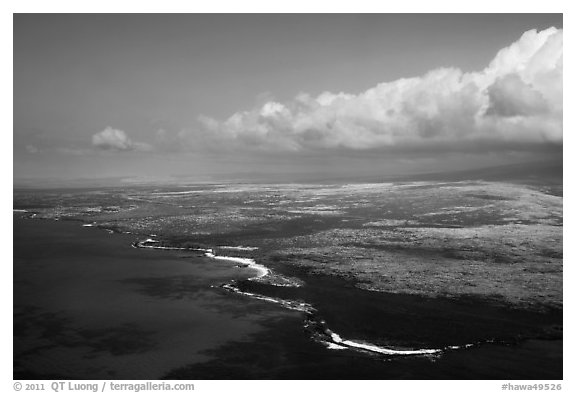 Aerial view of Kona Coast. Big Island, Hawaii, USA (black and white)