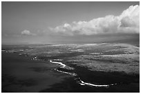 Aerial view of Kona Coast. Big Island, Hawaii, USA ( black and white)