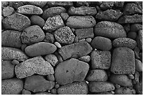 Detail of ancient hawaiian wall, Kaloko-Honokohau National Historical Park. Big Island, Hawaii, USA (black and white)