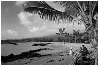 Evening on Honokohau Beach, Kaloko-Honokohau National Historical Park. Big Island, Hawaii, USA ( black and white)