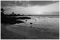 Sunset, Honokohau Beach, Kaloko-Honokohau National Historical Park. Big Island, Hawaii, USA (black and white)