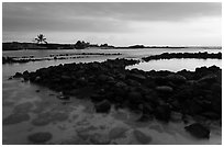 Aiopio fishtrap at sunset, Kaloko-Honokohau National Historical Park. Big Island, Hawaii, USA ( black and white)