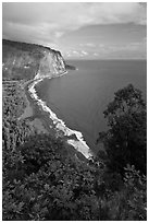 Waipio Beach from overlook, early morning. Big Island, Hawaii, USA (black and white)
