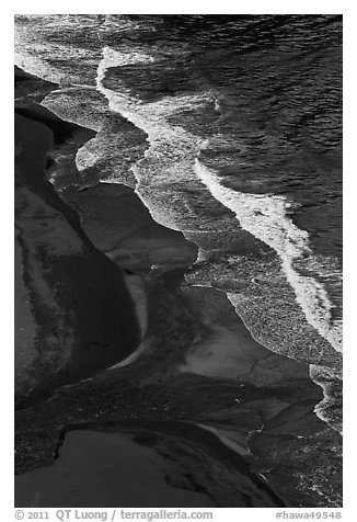 Surf and black sand beach from above, Waipio Valley. Big Island, Hawaii, USA (black and white)