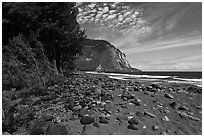 Waipio Beach covered with black sand. Big Island, Hawaii, USA (black and white)