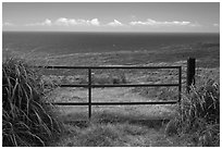 Gate, field, and Ocean. Big Island, Hawaii, USA ( black and white)