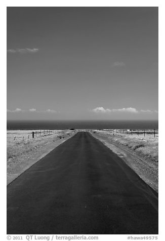 Narrow road and ocean,  South Point. Big Island, Hawaii, USA (black and white)