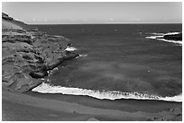 Green sand beach from above, South Point. Big Island, Hawaii, USA ( black and white)