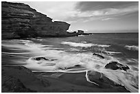 Surf and green sand, Papakolea Beach. Big Island, Hawaii, USA ( black and white)
