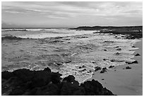 Beach and lava near South Point, sunset. Big Island, Hawaii, USA ( black and white)