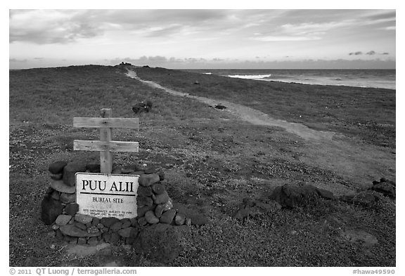 Burial site near South Point. Big Island, Hawaii, USA (black and white)