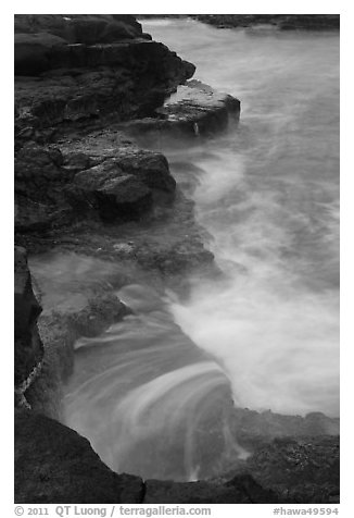 Volcanic rock and surf, South Point. Big Island, Hawaii, USA (black and white)