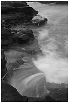 Volcanic rock and surf, South Point. Big Island, Hawaii, USA ( black and white)