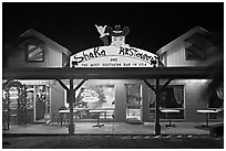 Most southern bar in the USA at night. Big Island, Hawaii, USA (black and white)