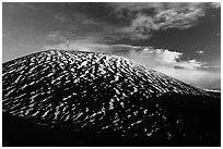 Cinder cone with stripes of snow. Mauna Kea, Big Island, Hawaii, USA (black and white)