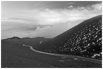 Road at sunset. Mauna Kea, Big Island, Hawaii, USA (black and white)