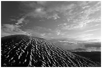 High altitude volcano with snow at sunset. Mauna Kea, Big Island, Hawaii, USA (black and white)