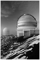 Gemini Northern Telescope and Canada-France Telescope. Mauna Kea, Big Island, Hawaii, USA (black and white)
