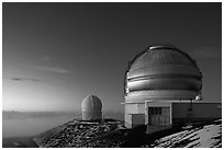 Observatories at dusk. Mauna Kea, Big Island, Hawaii, USA (black and white)