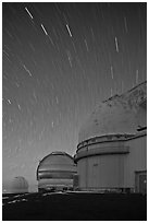Telescopes and star trails. Mauna Kea, Big Island, Hawaii, USA (black and white)