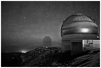 Telescopes and stars at night. Mauna Kea, Big Island, Hawaii, USA (black and white)