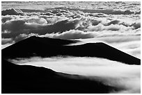Dark ridges and clouds from above. Mauna Kea, Big Island, Hawaii, USA (black and white)