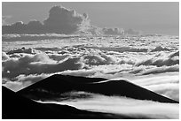 Ridges and sea of clouds. Mauna Kea, Big Island, Hawaii, USA (black and white)