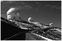 Observatories and recent snow. Mauna Kea, Big Island, Hawaii, USA (black and white)