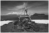 Mountain summit and hawaiian altar. Mauna Kea, Big Island, Hawaii, USA (black and white)