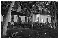 Historic building at night. Lahaina, Maui, Hawaii, USA (black and white)