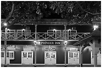 Pioneer Inn facade at night. Lahaina, Maui, Hawaii, USA ( black and white)