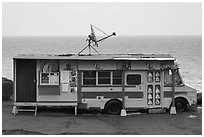 Reconverted school bus, Kahakuloa. Maui, Hawaii, USA ( black and white)