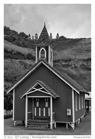 Green church, Kahakuloa. Maui, Hawaii, USA (black and white)