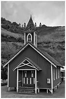 Green church, Kahakuloa. Maui, Hawaii, USA ( black and white)
