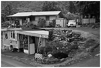 Souvenir stand and houses, Kahakuloa. Maui, Hawaii, USA ( black and white)