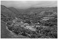 Kahakuloa valley. Maui, Hawaii, USA ( black and white)