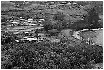Beach and village,  Kahakuloa. Maui, Hawaii, USA ( black and white)