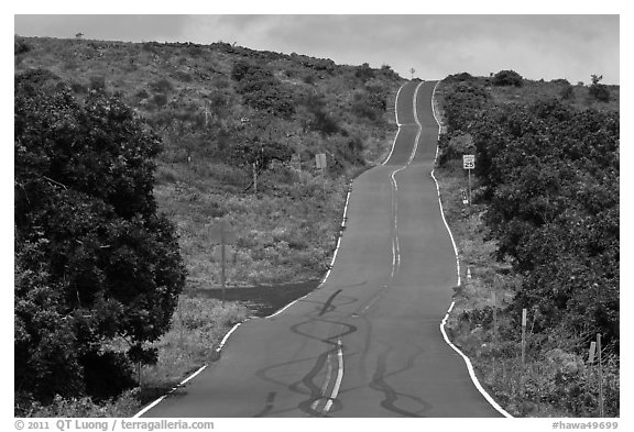 Rough road south of island. Maui, Hawaii, USA (black and white)