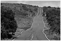 Rough road south of island. Maui, Hawaii, USA ( black and white)