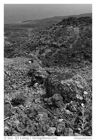 Desert-like lava flow rock and ocean, Kanalo reserve. Maui, Hawaii, USA (black and white)