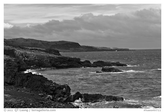 Man fishing, Southern coastline. Maui, Hawaii, USA (black and white)