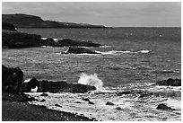 Volcanic coastline. Maui, Hawaii, USA (black and white)