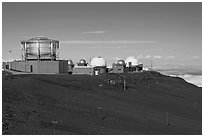 Maui Space Surveillance Complex, Haleakala observatories. Maui, Hawaii, USA ( black and white)