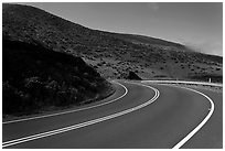 Winding Haleakala road. Maui, Hawaii, USA ( black and white)