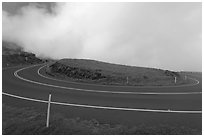 Hairpin bend. Maui, Hawaii, USA (black and white)