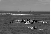 Surfing class. Lahaina, Maui, Hawaii, USA ( black and white)