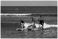 Surfing students ride the same wave. Lahaina, Maui, Hawaii, USA ( black and white)