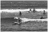 Group of surfers. Lahaina, Maui, Hawaii, USA ( black and white)